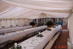 Marquee to the rear linked to the main hall. All ready for the wedding party